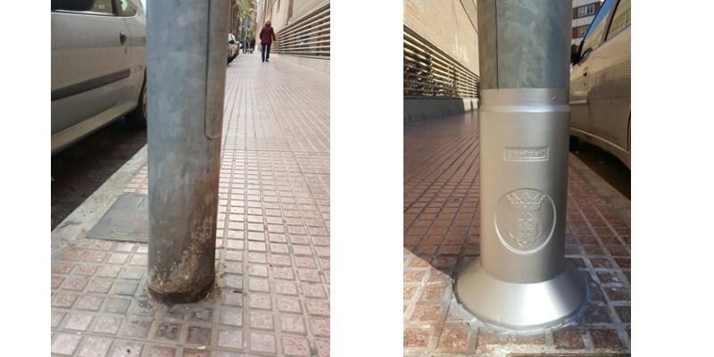 El Ayuntamiento de Castellón amplía el proyecto piloto para evitar la oxidación de farolas por los orines