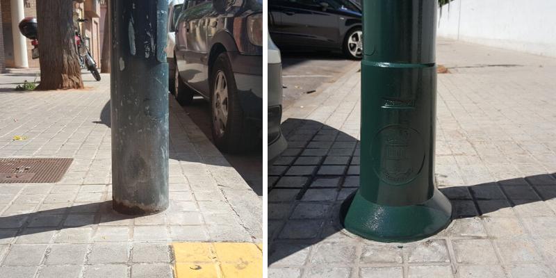 El Ayuntamiento de Aldaia (Valencia) aplica el sistema UltraProtek®, para evitar que se oxiden las farolas a causa del orín de los canes.