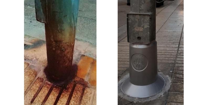 Ayuntamiento de Alzira, refuerza y protege las farolas a través sistema de protección UltraProtek®